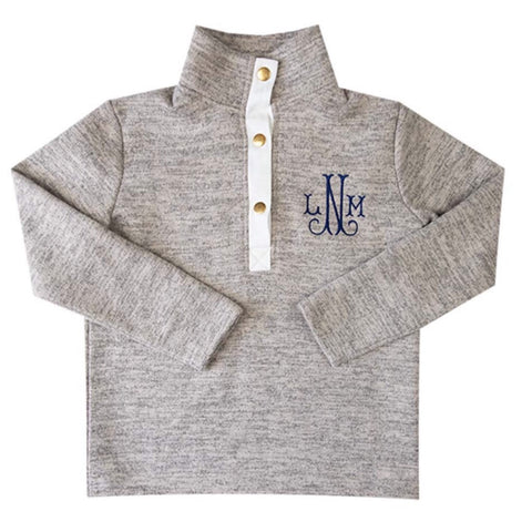 kids unisex fleece pullover with monogram