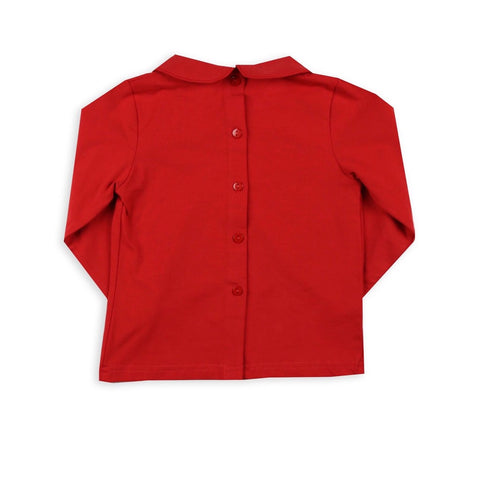 Unisex Red Peter Pan Knit Long-sleeve Shirts