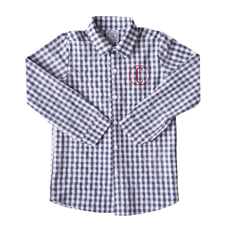 Patriot Navy Gingham Seersucker Button Down
