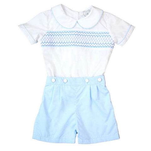 Robby Heirloom Boy Button Shorts Set