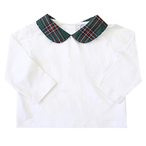 green tartan peter pan top for girls boys