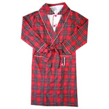 Kids robe loungewear for christmas red tartan