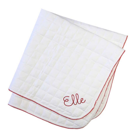White Knit Quilted Blanket with Red Picot Trim