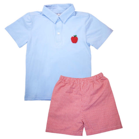Blake French Knot Apple Polo & Shorts Set