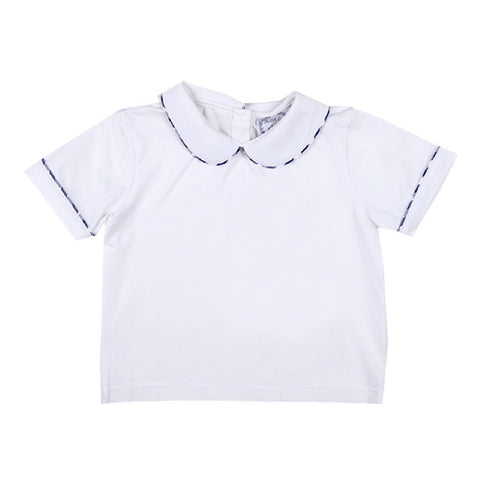 Peter Pan White Knit Shirt with Navy Gingham Trim