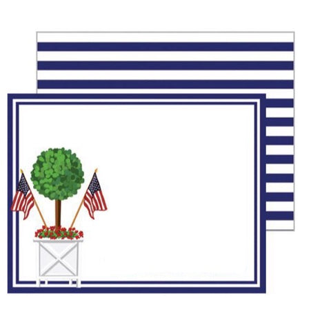 Patriotic Topiary Flat Notecard