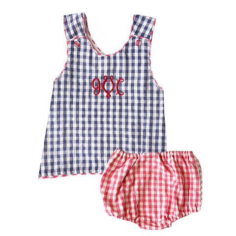 Patriot Navy Gingham Seersucker Bloomer Swing Set