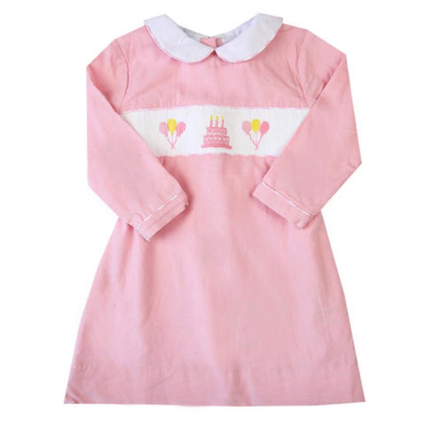 Pink Corduroy & Gingham Birthday Dress
