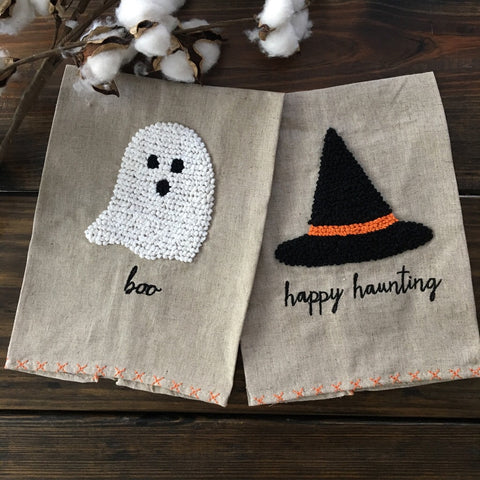 Halloween French Knot Towels