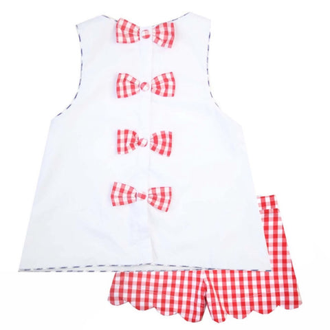 Girls Red Gingham Bow-back Top & Shorts Set
