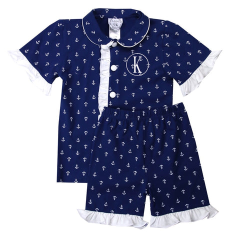Girls Anchor Loungewear Shorts Set