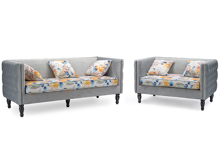 Swell Baxton Studio Penelope Gray Velvet And Paisley Floral Sofa Alphanode Cool Chair Designs And Ideas Alphanodeonline