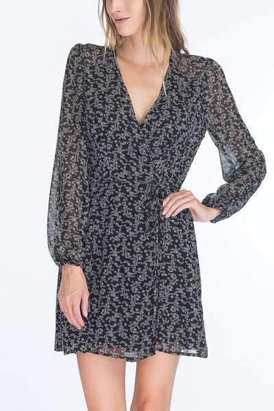 beauty + grace Floral V Neck Wrap Dress