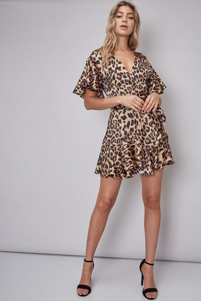 beauty + grace Leopard Mini Wrap Dress