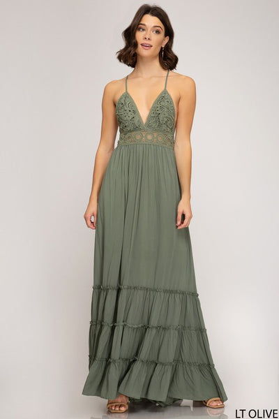 beauty + grace Cross Back Maxi Dress