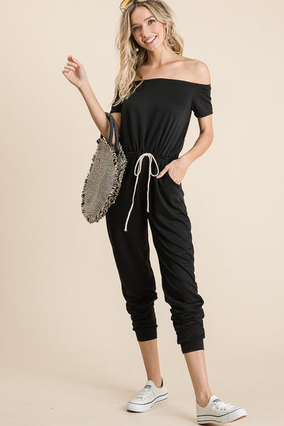 beauty + grace Off Shoulder French Terry Jumpsuit