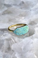 NATIVE GEM ID ring in 14K gold vermeil + turquoise