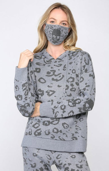Strauss Skull Loungewear Hooded Knit Sweater