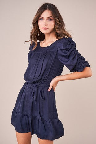 Beauty & Grace Ruched Sleeve Ruffle Waist Wrap Dress