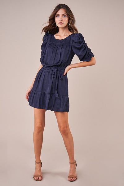 beauty + grace Ruched Sleeve Ruffle Waist Wrap Dress