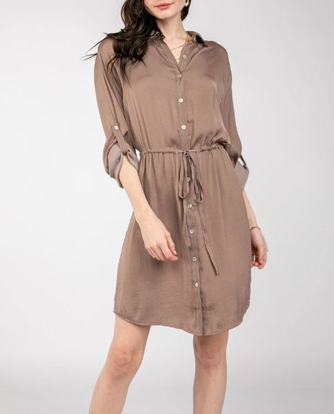 Beauty + Grace LONG SLV SHIRT DRESS W/ DRAWSTRING WAIST
