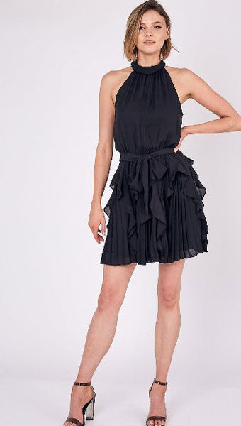 Beauty + Grace Pleated Ruffle Tie Waist Dress