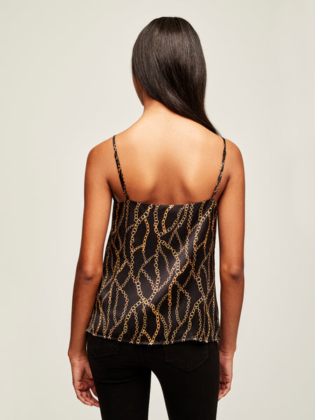 L'AGENCE Jane Spaghetti Strap Top in Black Multi Chain