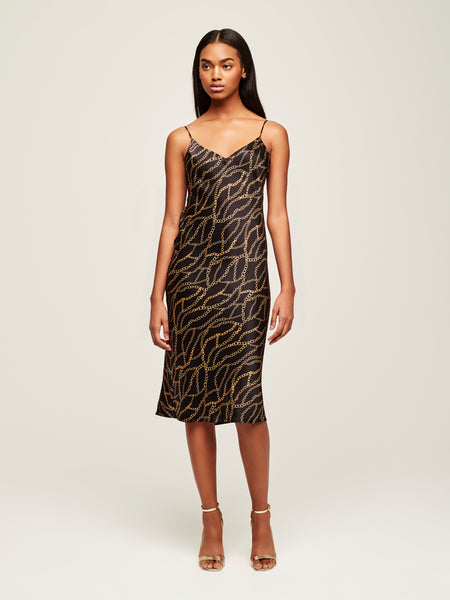 L'AGENCE Jodie V Neck Slip Dress in Black Chain