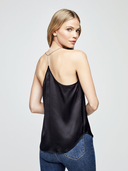 L'AGENCE Aylin Chain Strap Camisole Tank in Black