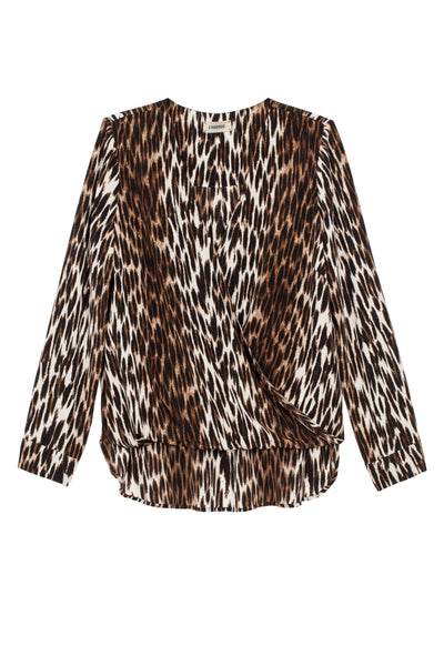 L'AGENCE Kyla L/S Draped Blouse in Black Multi Camilla