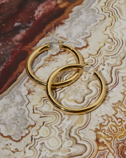 beauty + grace Amalfi Tube Hoops in Gold