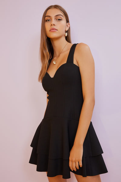 FINDERS KEEPERS Lines Mini Dress in Black