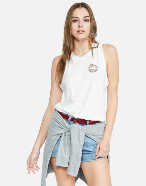 LAUREN MOSHI Rainbow Lip High Neck Tank
