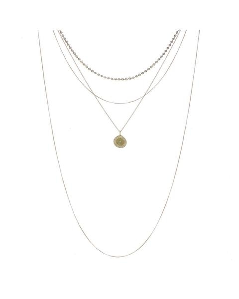 LUV AJ Layered Pave Coin Necklace Gold