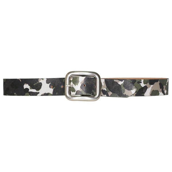 STREETS AHEAD Justine Camo Belt with Silver Buckle