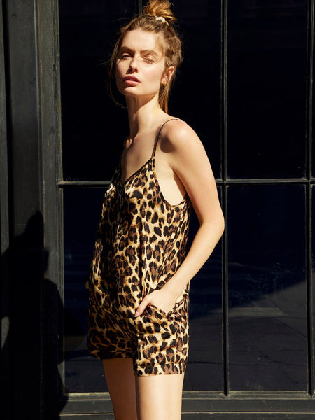 NATION LTD Cara Lingerie Romper in Leopard