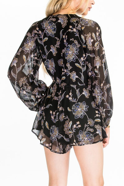 beauty + grace Floral V Neck Romper