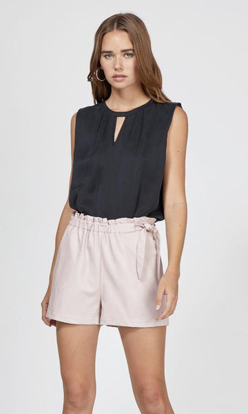 GREYLIN Gwen Vegan Leather Waist-Tie Shorts