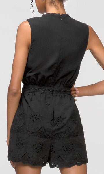 GREYLIN Eve Eyelet Embroidered Wrap-Over Romper