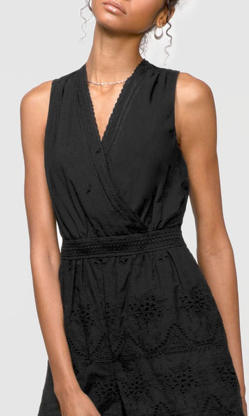 GREYLIN Eve Eyelet Embroidered Wrap-Over Playsuit