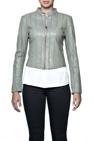 BANO EEMEE Adila Leather Jacket in Earl Grey