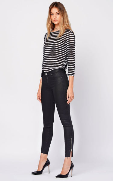 BLACK ORCHID Kaia Split Zip Ankle Fray in Black Mirror
