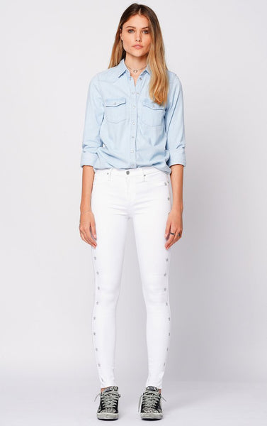 BLACK ORCHID Gisele High Rise Skinny w/Racer Stars in White