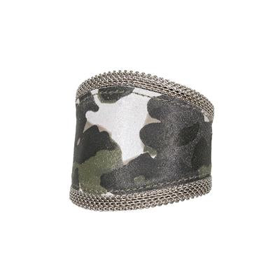 STREETS AHEAD Wide Camo Bracelet with Silver Mesh
