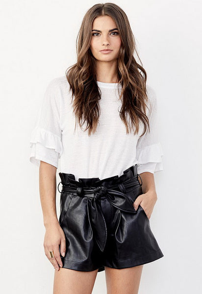 DAVID LERNER Paperbag Waist Belted Shorts in Black