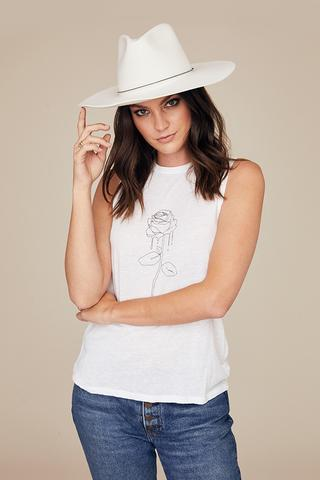 DAVID LERNER Rose Crew Neck Tank