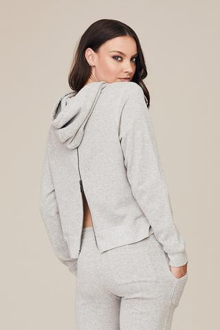 DAVID LERNER Cropped Hoodie With Back Zip