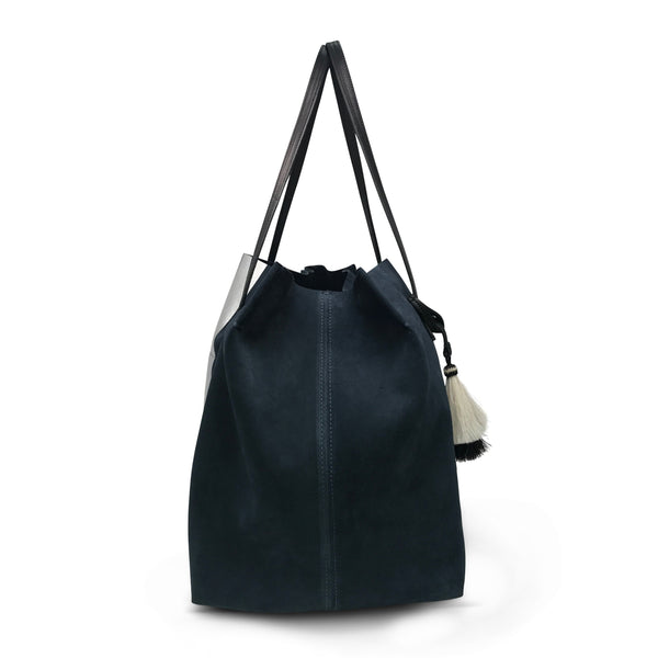 b031abc9b2f9 KEMPTON & CO Navy Dorset Silver Stripe Suede Tote – Beauty and Grace ...