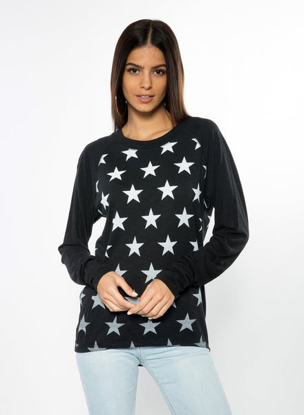 CHRLDR Faded Stars Long Sleeve Raw Edge T-Shirt