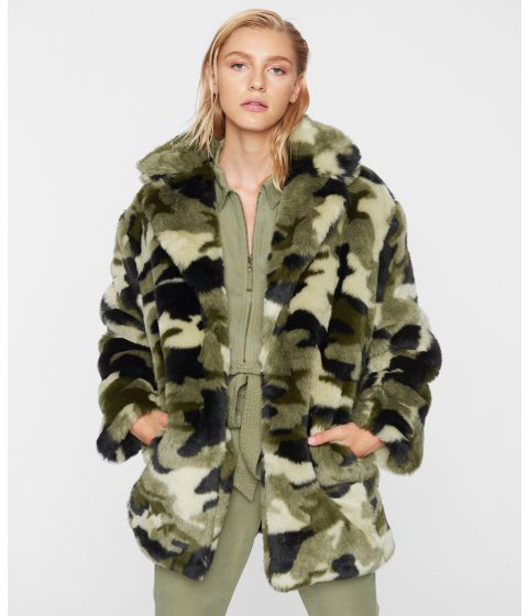 PAM & GELA Camo Faux Fur Coat